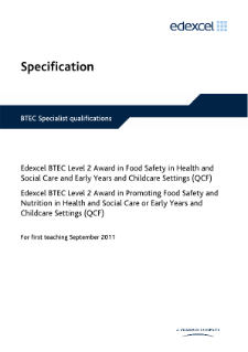 BTEC Level 2 Award in Promoting Food Safety and Nutrition in Health and Social Care or Early Years and Childcare Settings specification