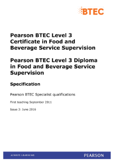 BTEC Level 3 Food and Beverage Service Supervision specification