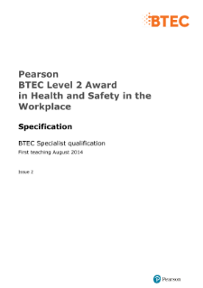 BTEC Level 2 Award in Health and Safety in the Workplace specification