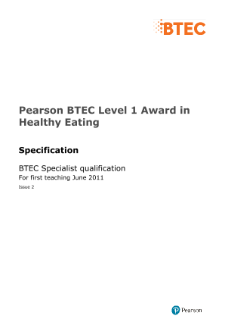 BTEC Level 1 Award in Healthy Eating specification