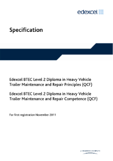 BTEC Level 2 Diploma in Heavy Vehicle Trailer Maintenance and Repair Principles specification