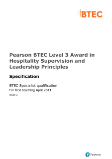 BTEC Level 3 Award in Hospitality Supervision and Leadership Principles specification