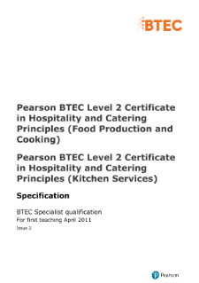 Btec specialist hospitality and catering principles food btec level 2 certificate in hospitality and catering principles food production and cooking specification thecheapjerseys Choice Image