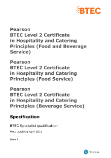 BTEC Level 2 Hospitality and Catering Principles (Food and Beverage Service) specification