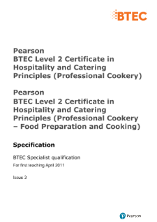 BTEC Level 2 Hospitality and Catering Principles (Professional Cookery) specification
