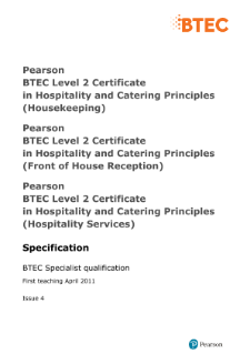 BTEC Level 2 Hospitality and Catering Principles (Front of House Reception) specification