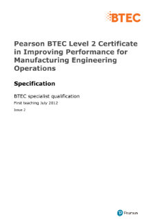 BTEC Level 2 Award in Improving Performance for Manufacturing Engineering Operations specification
