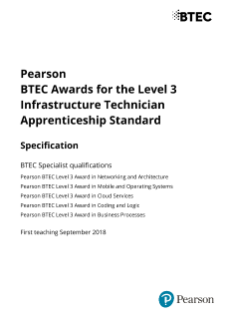 BTEC Awards for the L3 Infrastructure Technician Apprenticeship Standard Specification