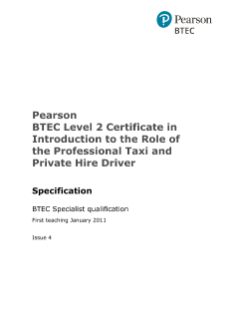 Pearson BTEC Level 2 Certificate in Introduction to the Role of the Professional Taxi and Private Hire Driver