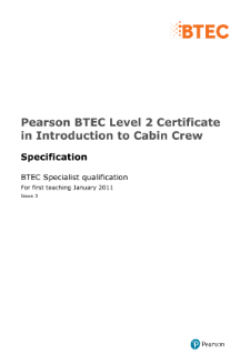 BTEC Level 2 Certificate in Introduction to Cabin Crew specification