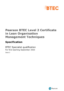 BTEC Level 2 Certificate in Lean Organisation Management Techniques specification