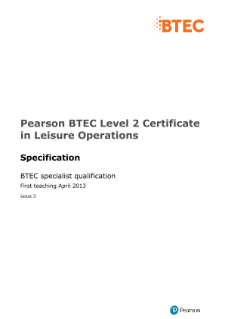 BTEC Level 2 Certificate in Leisure Operations specification
