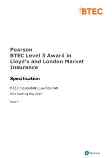 BTEC Level 3 Award in Lloyd's and London Market Insurance specification