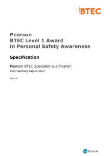 BTEC Level 1 Award in Personal Safety Awareness specification