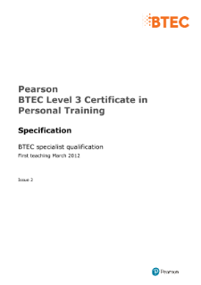 BTEC Level 3 Certificate in Personal Training specification