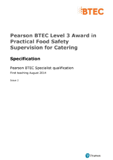 BTEC Level 3 Award in Practical Food Safety Supervision for Catering specification