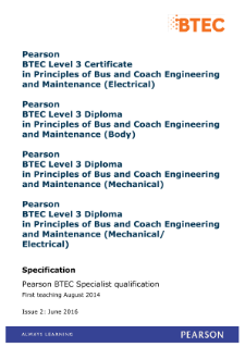 BTEC Level 3 Diploma in Principles of Bus and Coach Engineering and Maintenance (body) specification