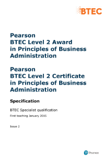 BTEC Level 2 Award in Principles of Business Administration specification