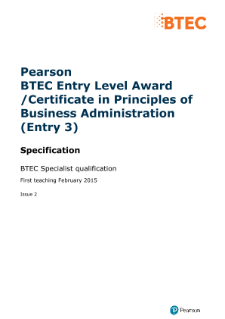 BTEC Entry Level 3 Principles of Business Administration specification
