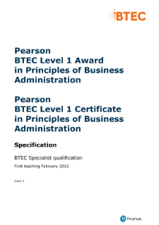 BTEC Level 1 Principles of Business Administration specification