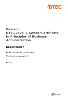 Pearson BTEC Level 3 Award in Principles of Business Administration