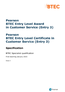 BTEC Entry Level Award in Principles of Customer Service specification