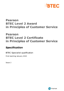 BTEC Level 2 Principles of Customer Service specification
