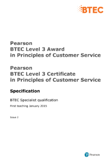 BTEC Level 3 Principles of Customer Service specification