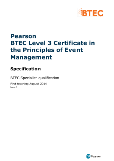 BTEC Level 3 Certificate in the Principles of Event Management specification