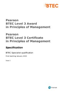 BTEC Level 3 Award in Principles of Management specification