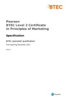 Pearson BTEC Level 2 Certificate in Principles of Marketing