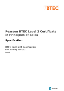 BTEC Level 2 Certificate in Principles of Sales specification