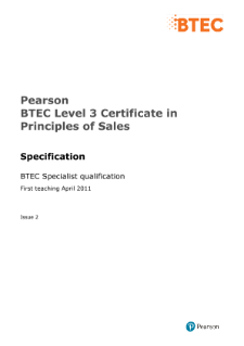 BTEC Level 3 Certificate in Principles of Sales specification
