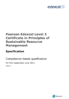 Pearson Edexcel Level 3 Certificate in Principles of Sustainable Resource Management specification