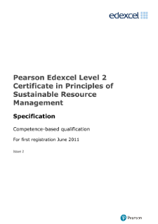 Pearson Edexcel Level 2 Certificate in Principles of Sustainable Resource Management specification