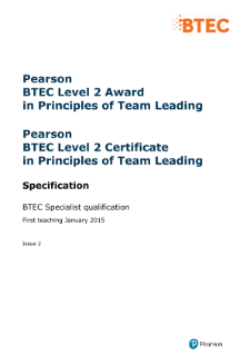 BTEC Level 2 Award in Principles of Team Leading specification
