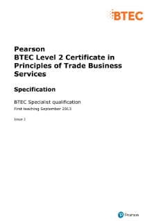 BTEC Level 2 Certificate in Principles of Trade Business Services specification