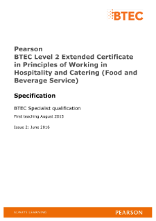 BTEC Level 2 Extended Certificate in Working in Hospitality and Catering (Food and Beverage Service)