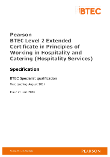BTEC Level 2 Extended Certificate in Principles of Working in Hospitality and Catering (Hospitality Services) specification