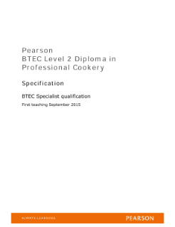 Pearson BTEC Level 2 Diploma in Professional Cookery Specification
