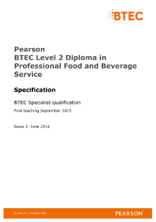 Pearson BTEC Level 2 Diploma in Professional Food and Beverage Service Specification
