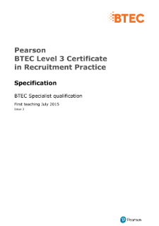 BTEC Level 3 Certificate in Recruitment Practice specification