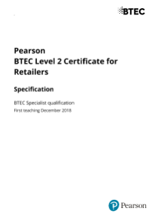BTEC Level 2 Certificate for Retailers Specification