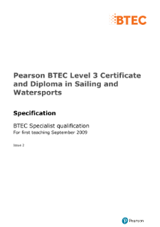 BTEC Level 3 Sailing and Watersports specification