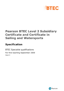 BTEC Level 2 Sailing and Watersports specification