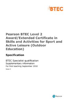 BTEC Level 2 Skills and Activities for Sport and Active Leisure (Outdoor Education) specification