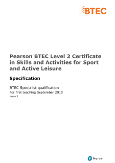 BTEC Level 2 Skills and Activities for Sport and Active Leisure specification