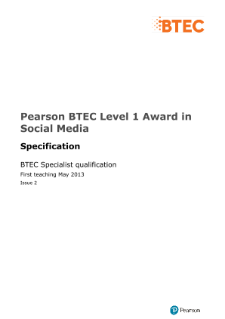 BTEC Level 1 Award in Social Media specification