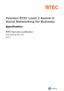 BTEC Level 2 Award in Social Networking for Business specification