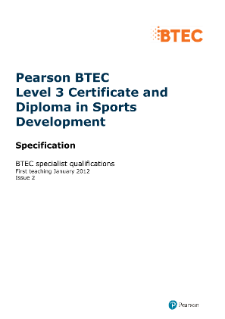 BTEC Level 3 Award in Sports Development specification